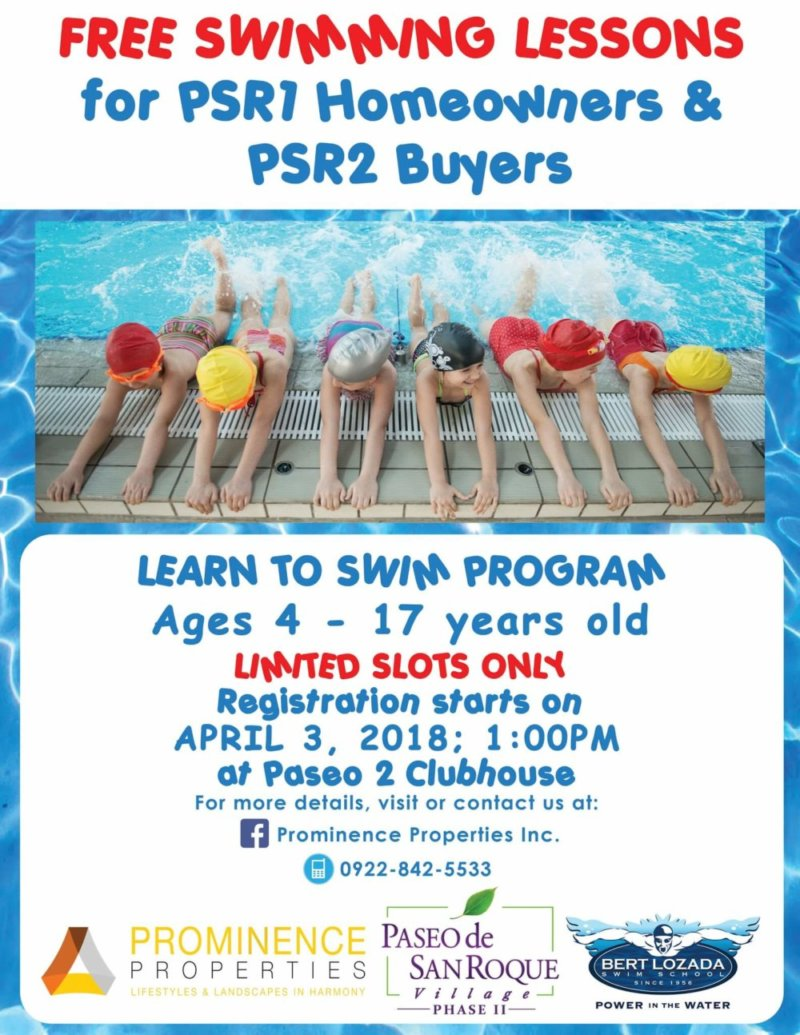 PPI offers Learn to Swim Program for FREE to Paseo 1 Homeowners and Paseo 2 Buyers