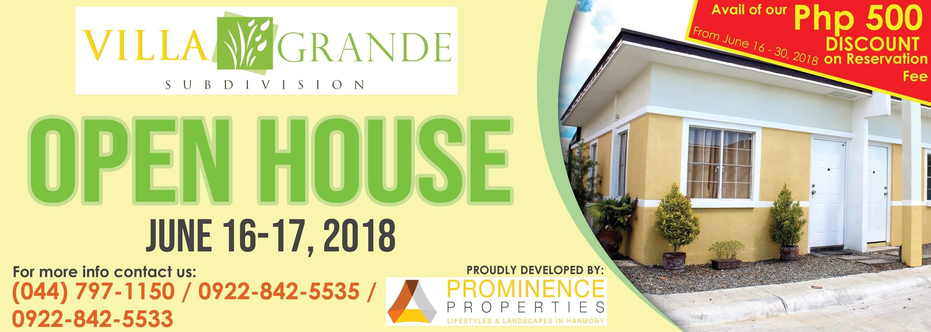 Villa Grande Subdivision Open House